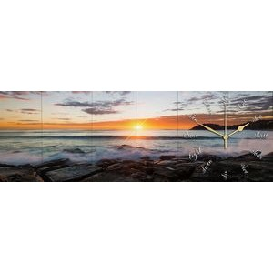 WALL CLOCK - Manly Sunrise wooden wall clock 8x24 by Scott Barlow. Panoramic art clock