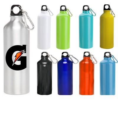 24 oz Oryza Aluminum Performance Sports Water Bottle With Carabiner and Twist Cap