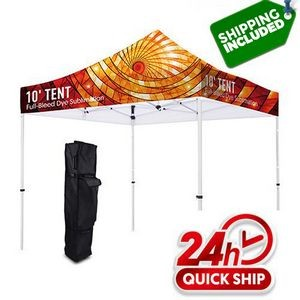 48 Hour Ship Premium 10' Canopy Tent Aluminum Frame Stand Full Color Graphic Kit