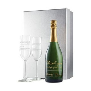 Etched Champagne w/ 1 Color Fill, Custom Neck Label, 2 Etched Flutes in a Silver Gift Box